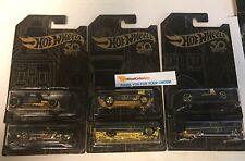 6 Car Set 50th Anniversary * 2018 Hot Wheels * Black/Gold Series
