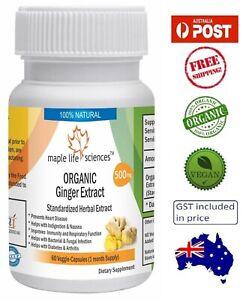ORGANIC Ginger Extract Capsules (Zingiber Officinale) - 500mg - AU Stock