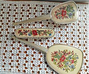 Antico Set Toilette Toeletta Spazzola Specchio spazzola abiti decoro fiori