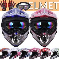 Dot Youth Helmet Motocross Off-road Dirt Bike Atv Utv Snowmobile Goggles Gloves