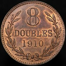More details for 1910 h | guernsey 8 doubles | bronze | coins | km coins