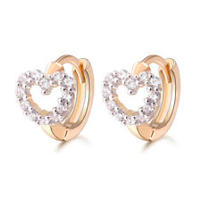Christening First Baby Girl 18 k Gold Plated Earrings Hoops Hearts Cubic Zircon