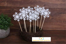 SNOWFLAKE FROZEN PARTY CAKE TOPPER 10PCS BIRTHDAY PARTY SILVER GLITTER CUPCAKES