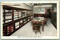 Postcard Boston Massachusetts Burdett College Museum and Library Posted 1917