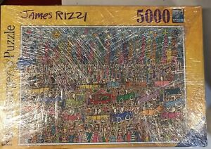"""Ravensburger 5000 Pc James Rizzi Puzzle """"Nothing Is Pretty As A Rizzi City"""" RARE"""