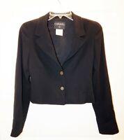 Chanel France sz 36 Black Wool Long Sleeve Short Jacket Blazer France