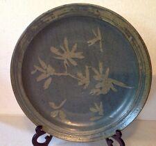 """Melis van der Sluis Museum Artist New Zealand Pottery Art 15"""" Platter Signed"""