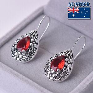 Vintage Boho 925 Silver Plated Red CZ Crystal Dangly Hook Earrings