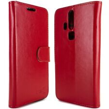 for ZTE Axon Pro Wallet Case - Red Folio Faux Leather Pouch LCD