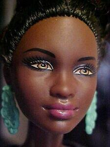 Barbie Doll Fashionistas Blue Brocade Black African American Petite Body