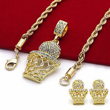 "Basketball Iced Out Micro Pendant Earrings Hip Hop Gold Plated 24"" Rope Chain"