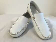 WWW Wisk Moccasins Slip-On Shoes White Leather Size 7