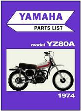 YAMAHA Parts Manual YZ80 YZ80A VMX 1974 Replacement Spares Catalog List
