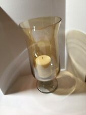 "Glass Hurricane Lamp Holder Vase With Candle  Amber 14"" Tall"