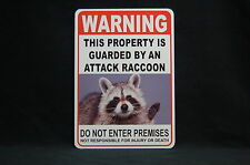 WARNING ATTACK RACCOON Pet Guard on Duty  sign vinyl lettering Garden home