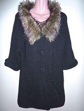 NWT $297 Twisted Heart Heavy Black Knit Faux Fur Trim Long Cardigan Large L