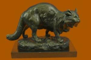 CUTE CAT ON PRAWL BRONZE SCULTURE FIGURINE FIGURE ART DECO MARBLE BASE STATUE