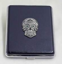 100 mm Black Leather 20pcs Cigarette Case/ID Holder - Sugar Skull