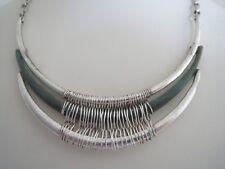 Plated~Patina bib necklace, Nwt Robert Lee Morris Silver