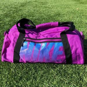 Deadstock MINT NWOT VTG 90s Purple Nike Swoosh Spellout Duffle Bag