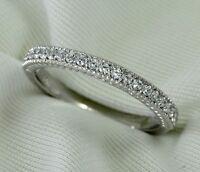Diamond Wedding Band Ring 0.21Ct Round Cut 14K White Gold Milgrain Anniversary