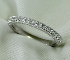 Natural Diamond Wedding Band Ring 0.21Ct Round Cut 14K White Gold Milgrain