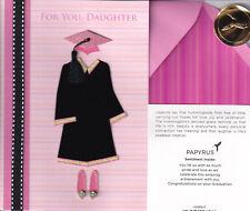 PAPYRUS GRADUATION CARD NIP MSRP $7.95 PINK/BLACK DAUGHTER CARD (M2)