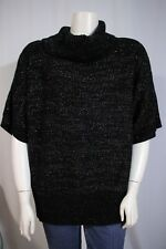 Avenue Design Woman Plus 26W 28W Black Silver Cowl Turtleneck Sweater Shirt Top