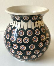 Bunzlau  Keramik-Kugelvase  Blumenvase - tradition. Dekor Pfauenauge - gebraucht