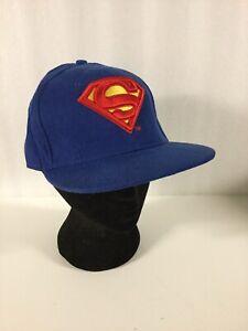 DC Comics Superman Supergirl Embroidered Blue Cap New