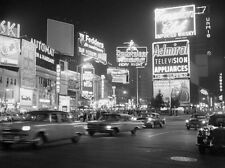 "New York City""Times Square Night Scene - 1959"", open edition digital print, B&W"