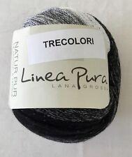 LANA GROSSA LINEA PURA  TRECOLORI - WORSTED WT COTTON YARN CLR GRAY/BLCK/WHITE