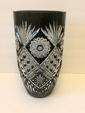 """Czech Bohemian Large Black Cut to Clear Crystal Large Vase 12"""" Tall"""