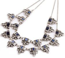 SAPPHIRE NAVY BLUE CRYSTAL RHINESTONE Chunky Designer Pendant Statement Necklace
