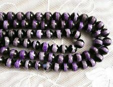 genuine Tibetan Dzi Agate round faceted striped 10mm gemstone beads purple black