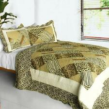 3 PC Melody Fair Animal Leopard Print Zebra Stripes 100%Cotton Queen Quilt Shams