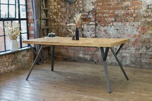 Adria Parquet Style Solid Acacia Wood Luxury Industrial Dining Table + Grey Legs