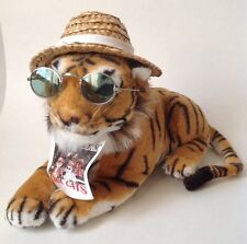"""Plush Bengal Tiger Cool Cat in Straw Hat and Sunglasses Take Pawz 13"""""""