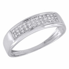 10K White Gold Mens Pave Round Diamond Wedding Band Anniversary Ring 0.16 Ct.