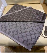 BNWT Authentic GUCCI scarf shawl GG Guccissima 140x140 cm wool silk In Brown