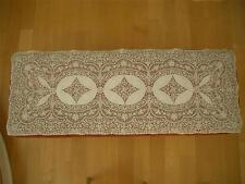 "Superb Lg 48"" Rectangular Antique Vtg Schiffli Embroidery Net Lace Runner Panel"