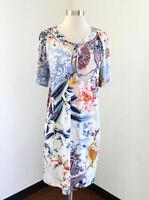Chico's Floral Paisley Burnout Print Shift Dress Chicos Size 0 Blue White