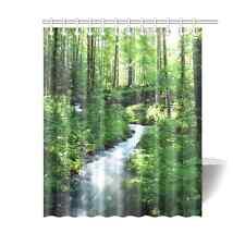 Custom Waterproof Bathroom Decor Clean Stream Green Forest Shower Curtain 60x72