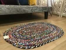 Small Second Nature Online Oval Braided Rug Blue Multicolour Rug