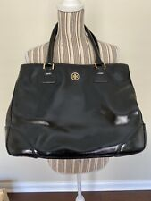 TORY BURCH ROBINSON EAST-WEST  PATENT TOTE BAG BLACK $575