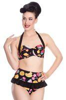 Women Retro Vintage Bikini Bottoms Classic High Waist Ruched Swim Pants TFSU