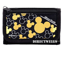 Disney Mickey Mouse Authentic Licensed Trifold Black Gold Wallet for Children