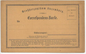 LUXEMBOURG:1874 mint Formular card (H&G 9a), 77mm top heading. Slight toning