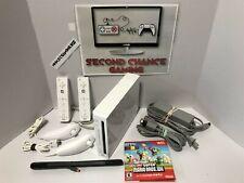 Nintendo Wii White Console RVL-001 - Super Mario Bros Bundle - Tested Working