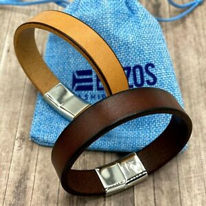 Mens Leather Handmade Bracelets Cuff Wristband Stainless Steel Clasp Fashion